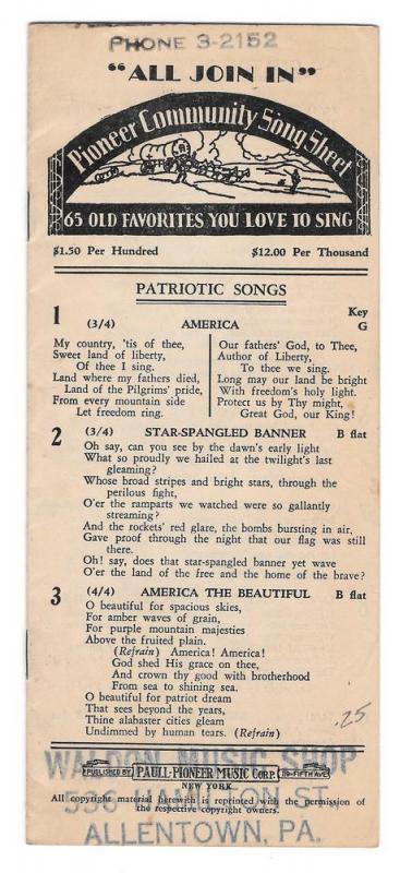 Allentown PA Waldon Music Shop Pioneer Community Song Sheet