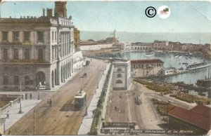 Algiers the Consular Palace and the Navy Alger Street Scene Vintage Postcard Old