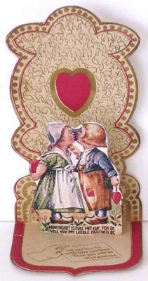 Vintage  Pull-Out Valentine, DUTCH BOY & GIRL KISSING