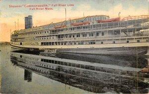 Steamer Commonwealth Fall River Line Massachusetts 1910c postcard