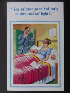 Donald McGill Postcard BABY TRIPLETS - GO TO BED EARLY TO SAVE COAL!.....c1950's