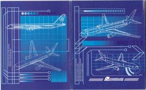Uzbekistan Airways Folder of 6 Airplane Cards , 70-90s
