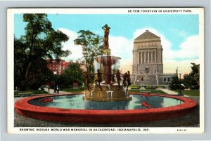 Indianapolis IN-Indiana, Fountain University Park War Memorial, Vintage Postcard