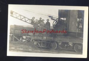 RPPC RAILROAD TRAIN CAR CRANE MACHINERY VINTAGE REAL PHOTO POSTCARD
