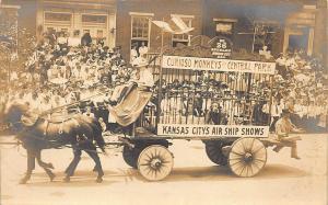 Kansas City MO BPOE Elks Monkey Parade Float Horse & Wagon Air Ship RP Postcard