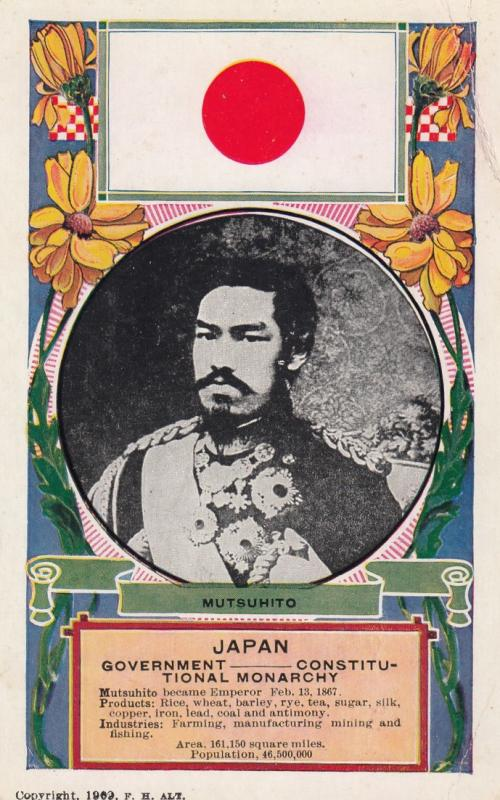 King of Japan & Flag , 1909 ; Mutsuhito