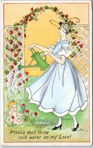 Beautiful  VALENTINE GREETING -  PRETTY WOMAN Waters Cupid    1920 Postcard