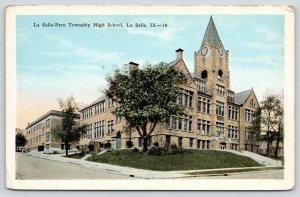 La Salle Illinois~LaSalle-Peru Township High School~Clock Tower~1920s Postcard