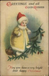Christmas - Unsigned Clapsaddle Child Winter Snow Suit & Pine Bough Postcard