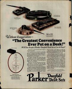 1927 Parker Duofold Desk Sets Vintage Print Ad 3869