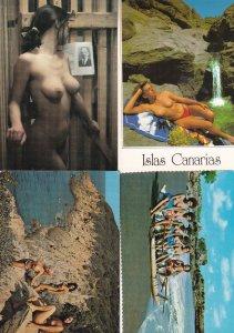 Cote D'Azur Canary Islands Polynesian Girls 4x Risque Postcard s