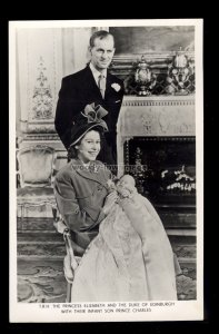 r4095 - Duke & Duchess of Edinburgh on Prince Charles Christening Day - postcard
