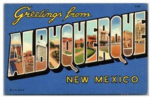 ALBUQUERQUE New Mexico NM Large Letter Duke City Vtg Curteich Linen Postcard