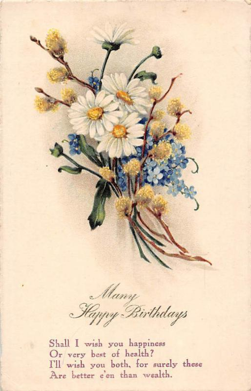 Many Happy Birthday, Happiness wish, Daisy, Forget-me-Not, Bouquet Philco