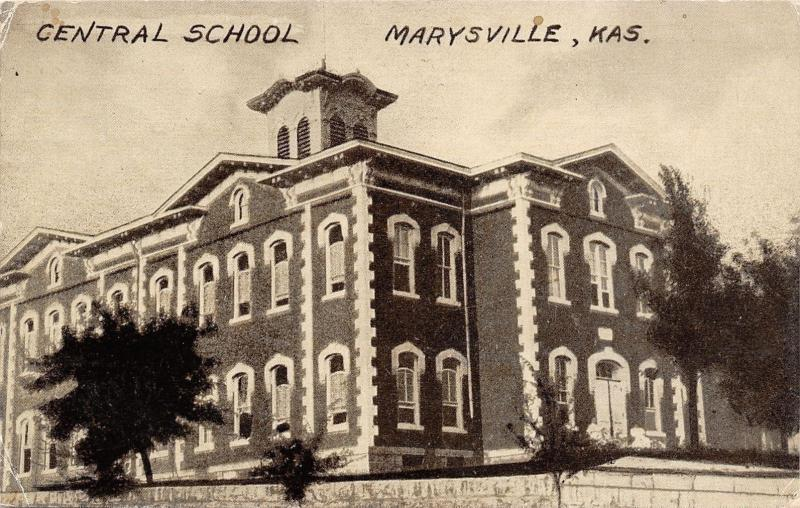 Marysville Kansas~Central School~Italianate w/Nice Quoins 1911 Postcard