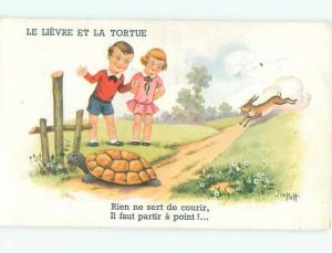 Old Postcard signed TORTOISE AND HARE STORY - BUNNY RABBIT AND TURTLE AC3676