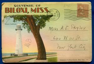 Biloxi Mississippi ms lighthouse Edgewater Hotel Beach postcard folder