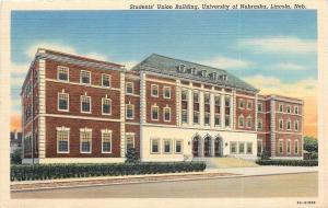 Lincoln~University of Nebraska~Students' Union Building~1939 Linen Postcard