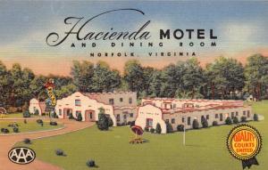 NORFOLK VIRGINIA~HACIENDA MOTEL~ROUTE 13~OCEAN HIGHWAY POSTCARD 1940s