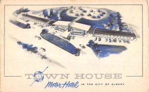 Albany New York Town House Motor Hotel Birdseye View Antique Postcard K101181