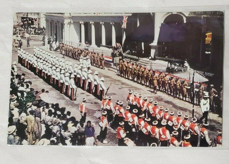 Chrome Postcard: Jamaica BWI- Military Parade, Spanish Town.