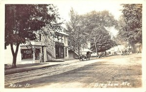 Bingham ME Barber Pole Hairdresser Cigar Sign A&P Grocery Store Old Cars RPPC.