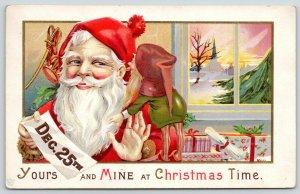 James E Pitts Christmas~Little Elf Whispers Into Santa's Ear~Dec 25~Presents~68F