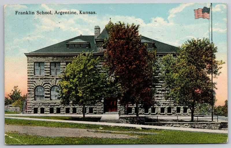 Argentine Kansas~Autumn Trees~US Flag Waving~Franklin School~1914 Postcard