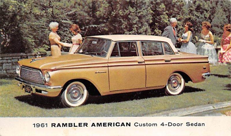 Auto After 1950 Post Card 1961 Rambler American Custom 4 Door Sedan 1960