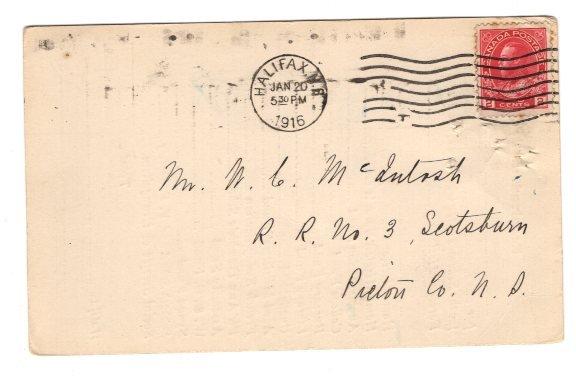 Church Finances, 1916, Pictou County, Nova Scotia Canada Postal Stationery