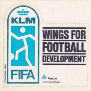 KLM ROYAL DUTCH AIRLINES FIFA FOOTBALL DEVELOPMENT VINTAGE LUGGAGE LABEL