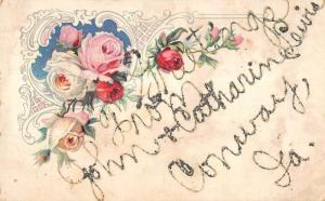 Conway Iowa Greetings From John & Catharin Lewis glitter antique pc ZA440343