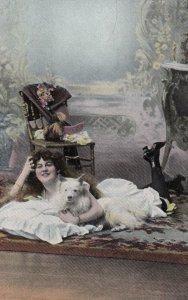 Girl & Dog on floor , 00-10s