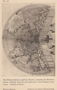 South America Northern Continent 1500s Map Antique Postcard