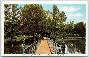 Boulder Colorado~University Campus~Footbridge aka Prexy's Walk~1920s Postcard