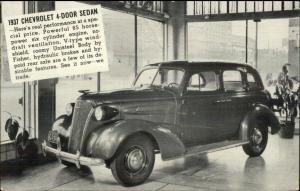 1937 Chevy Chevrolet 4 Door Kirbyville TX Bean Motor Co on Back Postcard