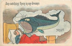 Am Catching Them in My Dreams~Man in Bed~Exaggerated Fish Hooked in Cloud~1915