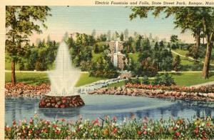 ME - Bangor, Electric Fountain & Falls, State Street Park
