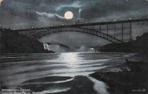 New York Rochester International Bridge At Night