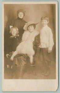 RPPC 2 Ladies~Girl & Boy~All Smiling Because Gal Wears Sheepskin? w/Legs? 1910