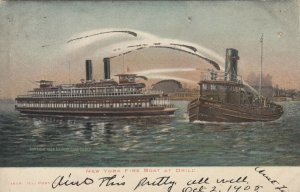 NEW YORK CITY,  1901-07;  Fire Boat at Drill