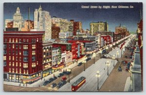 New Orleans Louisiana~Canal Street @ Night~City Lit Up~Tudor~1940s Postcard