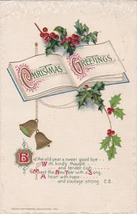 Christmas Greetings, Open book, Holly, Ringing gold bells, Poem, 00-10s