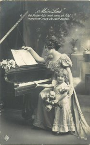 Mein Lied piano music lesson lovely lady cute girl glamour dress early postcard