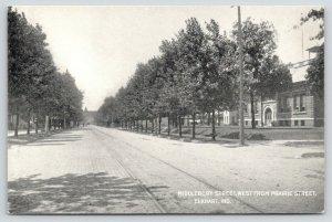 Elkhart Indiana~Middlebury Street West from Prairie~Trolley Tracks~1910 B&W PC