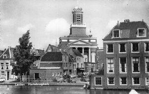 Netherlands Leiden Hartebrugkerk Church Street Vintage Cars Postcard