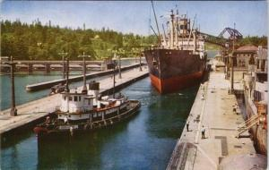 Government Locks Seattle WA Washington Tugboat Bob Ira Spring Postcard D82