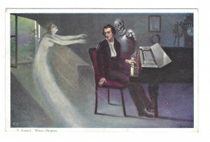 T Korpal Painting Chopin Piano Skeleton Ghost Death Poland Art Postcard
