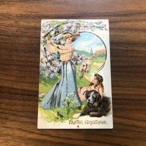 Easter Greetings - Dog WOMAN FLOWERS - ST BERNARD - VINTAGE - Postcard - PC