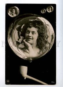 215986 Belle NYMPH in Soap BUBBLE Vintage PHOTO postcard